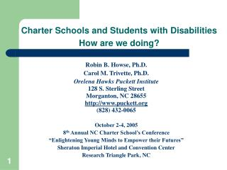 Charter Schools and Students with Disabilities  How are we doing