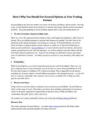 Here's Why You Should Use Secured Options as Your Trading Partner