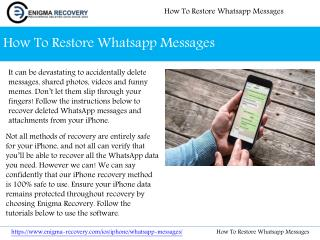 How To Restore Whatsapp Messages