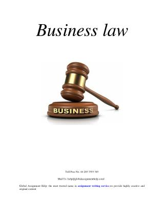 Sample ON Business law by Global Assignment Help