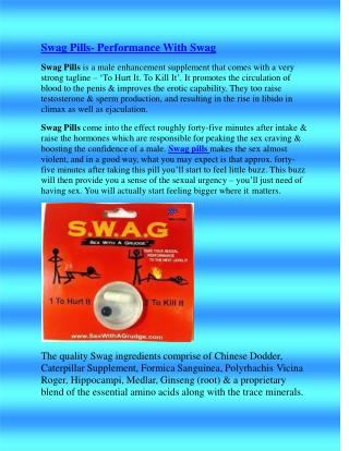 Swag Pills- Performance With Swag