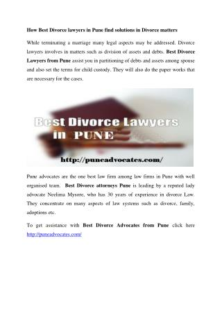Best Divorce Lawyers in Pune