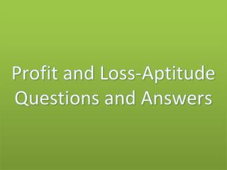 profit and loss-aptitude questions and answers