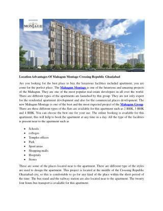 Location Advantages Of Mahagun Montage Crossing Republic Ghaziabad