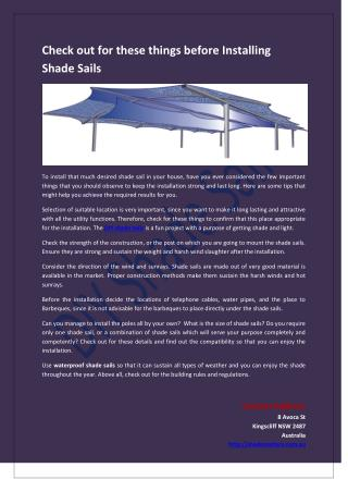 Check out for these things before installing shade sails