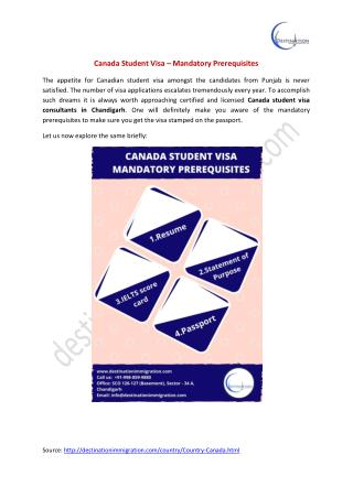 Canada Student Visa Consultants in Chandigarh