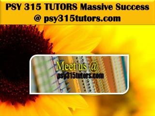 PSY 315 TUTORS Massive Success @ psy315tutors.com