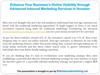 Enhance Your Business's Online Visibility through Advanced Inbound Marketing Services in Houston