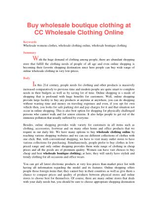 Buy wholesale boutique clothing at CC Wholesale Clothing Online