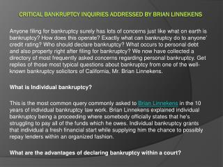 Critical Bankruptcy Inquiries Addressed By Brian Linnekens