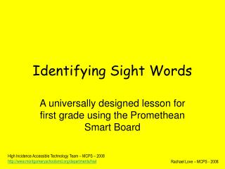 Identifying Sight Words