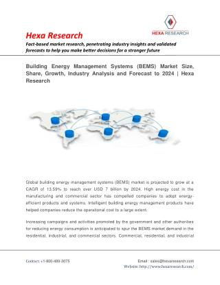 Building Energy Management Systems (BEMS) Market Size, Share | Industry Report, 2024 | Hexa Research