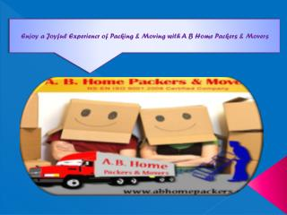 Enjoy a Joyful Experiencr of Packing & Moving with A B Home Packers & Movers