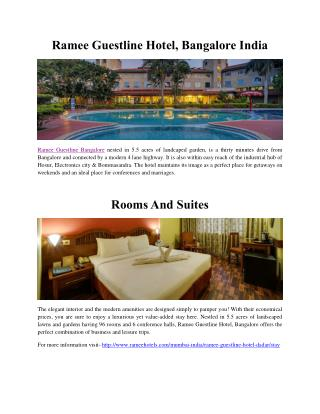 Ramee Guestline Hotel, Bangalore India