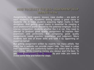 Best Assignment Helper Website