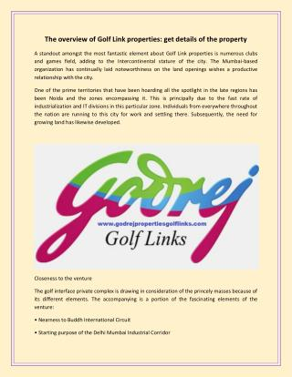 The overview of golf link properties get details of the property
