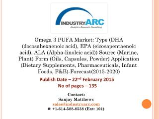 Omega-3 PUFA Market: omega 3 benefits for infants and adults propel the growth of this market.