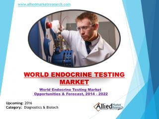 World Endocrine Testing Market Trends & Growth, Forecast - 2022