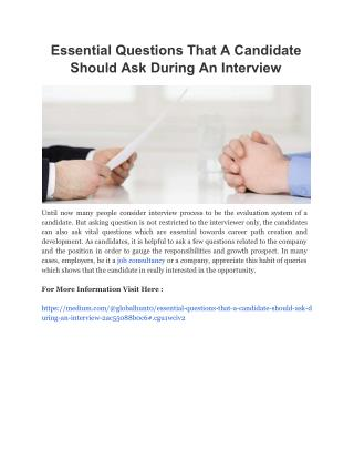 Essential Questions That A Candidate Should Ask During An Interview