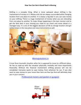 Moving Solutions-Gurgaon Packers and Movers