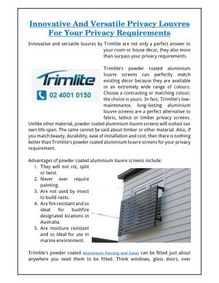 Innovative And Versatile Privacy Louvres For Your Privacy Requirements