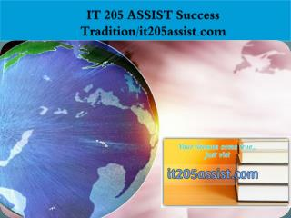 IT 205 ASSIST Success Tradition/it205assist.com