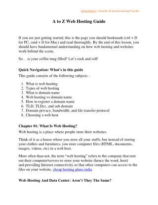 A to Z Web Hosting Guide