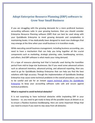 Adopt Enterprise Resource Planning (ERP) software to Grow Your Small Business