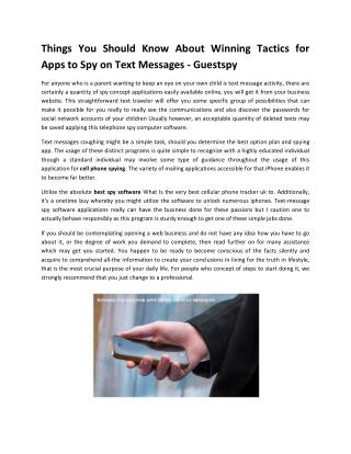 Winning Tactics for Apps to Spy on Text Messages - Guestspy