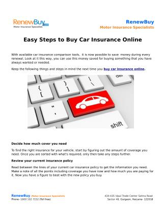 Easy Steps to Buy Car Insurance Online