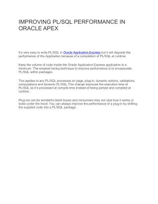 IMPROVING PL/SQL PERFORMANCE IN ORACLE APEX
