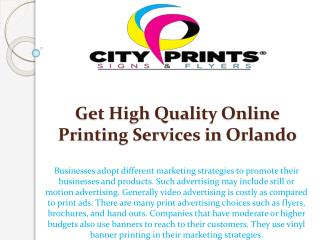 Get High Quality Online Printing Services in Orlando