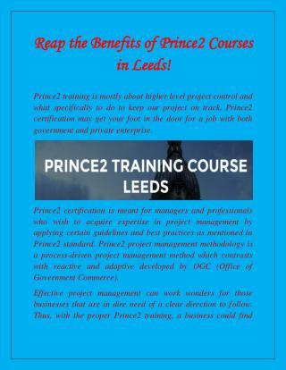Prince2 Courses in Leeds!