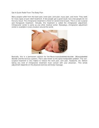 Get A Quick Relief From The Body Pain