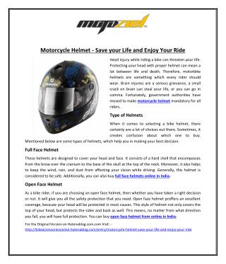 Motorcycle Helmet – Save your Life and Enjoy Your Ride