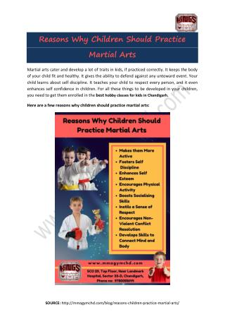 Reasons Why Children Should Practice Martial Arts