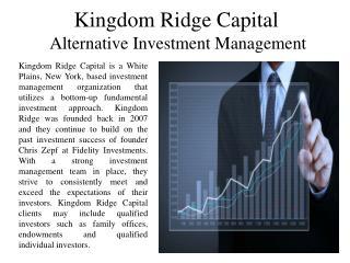 Kingdom Ridge Capital - Alternative Investment Management