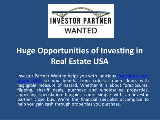 Huge Opportunities of Investing in Real Estate USA
