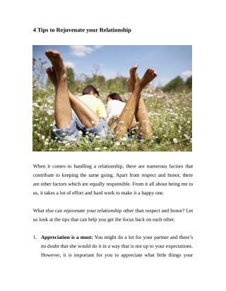 4 Tips to Rejuvenate your Relationship