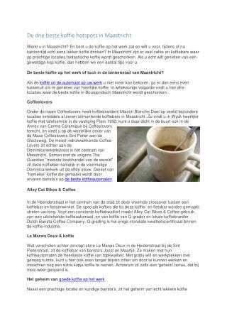 De drie beste koffie hotspots in Maastricht