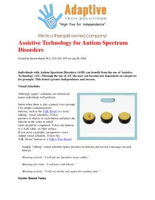 Assistive Technology for Autism Spectrum Disorders