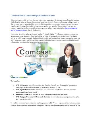 The benefits of Comcast digital cable services!