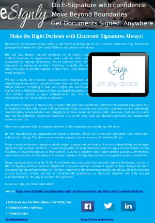 Make the Right Decision with Electronic Signatures Always!