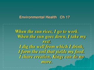 Ch. 17 Environmental Health