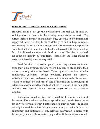 TruckSuvidha: Transportation On Online Wheels