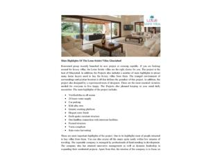 Main Highlights Of The Lotus Srishti Villas Ghaziabad