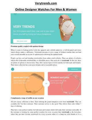 Verytrends.com- Premium quality coupled with updated design