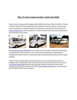 Hire Tempo Traveler Delhi