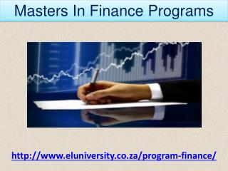 Masters In Finance Programs