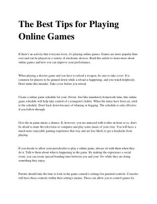 The Best Tips for Playing Online Games